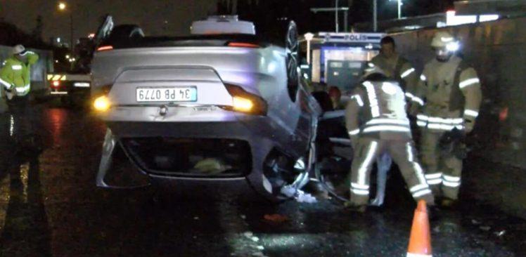 Ataşehir'de korkutan kaza: Takla attı