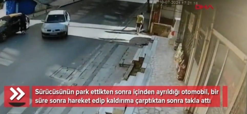 Ataşehir'de sürücüsüz otomobil takla attı